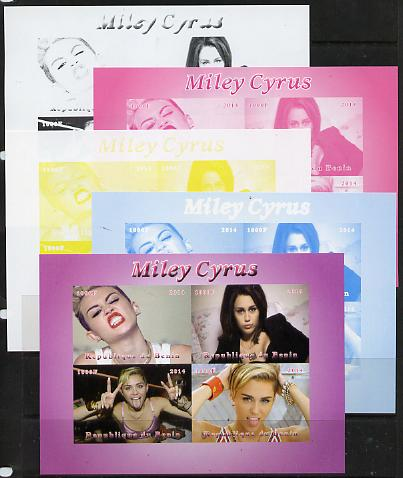 Benin 2014 Miley Cyrus sheetlet containing 4 values - the set of 5 imperf progressive proofs comprising the 4 individual colours plus all 4-colour composite, unmounted mint