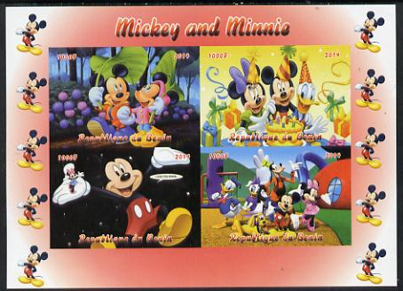 Benin 2014 Mickey & Minnie imperf sheetlet containing 4 values unmounted mint. Note this item is privately produced and is offered purely on its thematic appeal