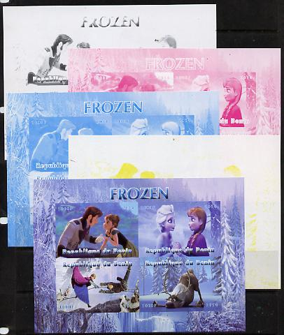 Benin 2014 Disney's Frozen sheetlet containing 4 values - the set of 5 imperf progressive proofs comprising the 4 individual colours plus all 4-colour composite, unmounted mint