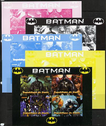 Benin 2014 Batman (Comic Strip) sheetlet containing 4 values - the set of 5 imperf progressive proofs comprising the 4 individual colours plus all 4-colour composite, unmounted mint