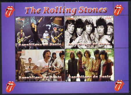 Benin 2014 The Rolling Stones perf sheetlet containing 4 values unmounted mint. Note this item is privately produced and is offered purely on its thematic appeal