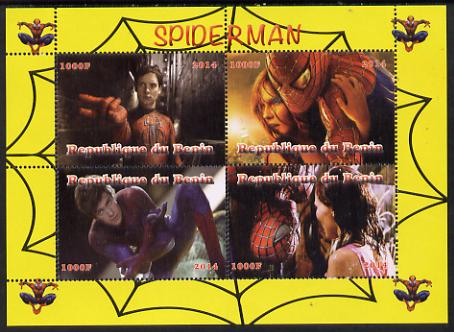Benin 2014 Spiderman (Movie) perf sheetlet containing 4 values unmounted mint. Note this item is privately produced and is offered purely on its thematic appeal