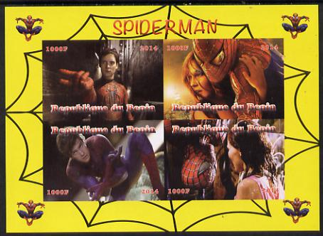Benin 2014 Spiderman (Movie) imperf sheetlet containing 4 values unmounted mint. Note this item is privately produced and is offered purely on its thematic appeal