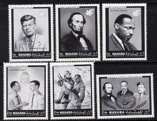 Manama 1968 Human Rights (Kennedy, Lincoln, Martin Luther King, etc) perf set of 6 unmounted mint, Mi 99-104*