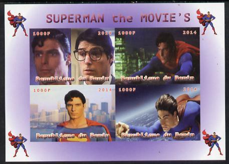 Benin 2014 Superman (Movie) imperf sheetlet containing 4 values unmounted mint. Note this item is privately produced and is offered purely on its thematic appeal