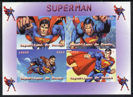 Benin 2014 Superman (Comic Strip) imperf sheetlet containing 4 values unmounted mint. Note this item is privately produced and is offered purely on its thematic appeal
