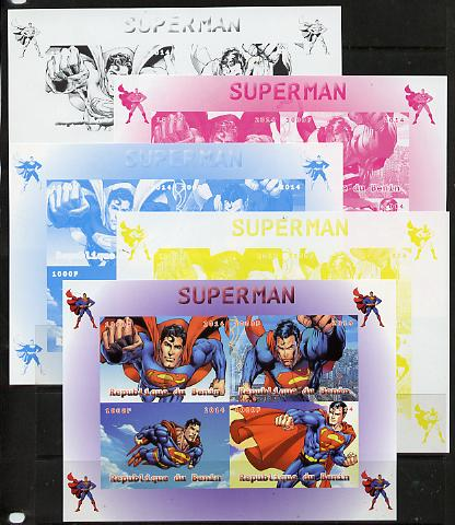 Benin 2014 Superman (Comic Strip) sheetlet containing 4 values - the set of 5 imperf progressive proofs comprising the 4 individual colours plus all 4-colour composite, unmounted mint