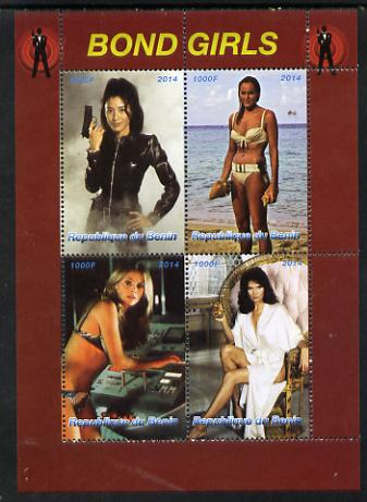 Benin 2014 Bond Girls perf sheetlet containing 4 values unmounted mint. Note this item is privately produced and is offered purely on its thematic appeal