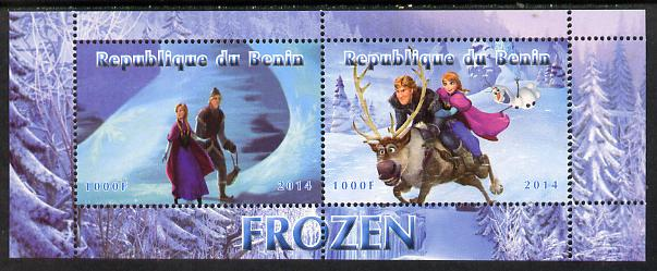 Benin 2014 Disney's Frozen perf sheetlet containing 2 values unmounted mint. Note this item is privately produced and is offered purely on its thematic appeal