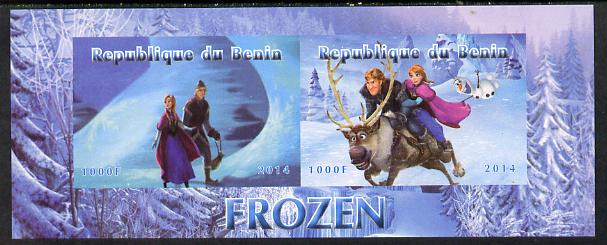 Benin 2014 Disney's Frozen imperf sheetlet containing 2 values unmounted mint. Note this item is privately produced and is offered purely on its thematic appeal