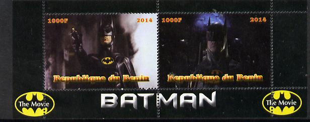 Benin 2014 Batman (Movie) perf sheetlet containing 2 values unmounted mint. Note this item is privately produced and is offered purely on its thematic appeal