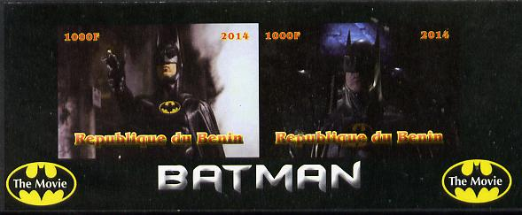 Benin 2014 Batman (Movie) imperf sheetlet containing 2 values unmounted mint. Note this item is privately produced and is offered purely on its thematic appeal