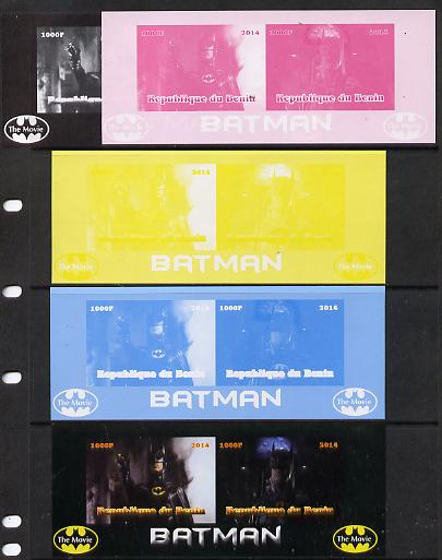 Benin 2014 Batman (Movie) isheetlet containing 2 values - the set of 5 imperf progressive proofs comprising the 4 individual colours plus all 4-colour composite, unmounted mint