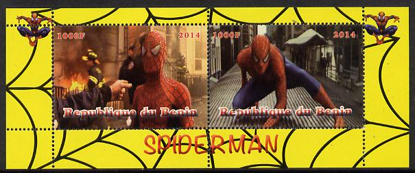 Benin 2014 Spiderman (Movie) perf sheetlet containing 2 values unmounted mint. Note this item is privately produced and is offered purely on its thematic appeal