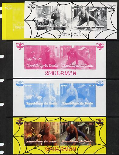 Benin 2014 Spiderman (Movie) sheetlet containing 2 values - the set of 5 imperf progressive proofs comprising the 4 individual colours plus all 4-colour composite, unmounted mint