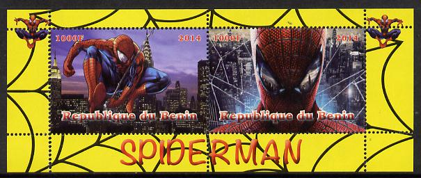 Benin 2014 Spiderman (Comic Strip) perf sheetlet containing 2 values unmounted mint. Note this item is privately produced and is offered purely on its thematic appeal