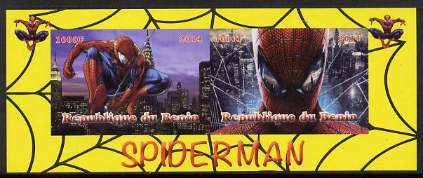 Benin 2014 Spiderman (Comic Strip) imperf sheetlet containing 2 values unmounted mint. Note this item is privately produced and is offered purely on its thematic appeal