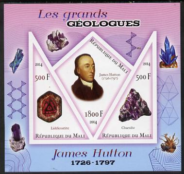 Mali 2014 Famous Gelogists & Minerals - James Hutton imperf sheetlet containing one diamond shaped & two triangular values unmounted mint