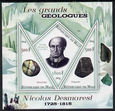 Mali 2014 Famous Gelogists & Minerals - Nicolas Desmarest perf sheetlet containing one diamond shaped & two triangular values unmounted mint
