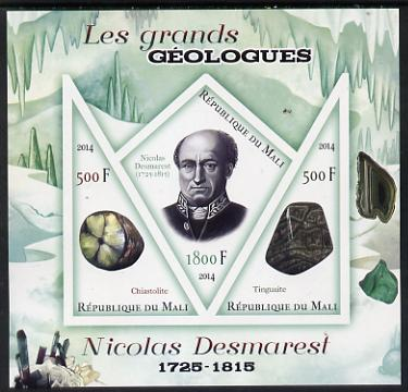 Mali 2014 Famous Gelogists & Minerals - Nicolas Desmarest imperf sheetlet containing one diamond shaped & two triangular values unmounted mint