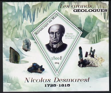 Mali 2014 Famous Gelogists & Minerals - Nicolas Desmarest perf deluxe sheet containing one diamond shaped value unmounted mint