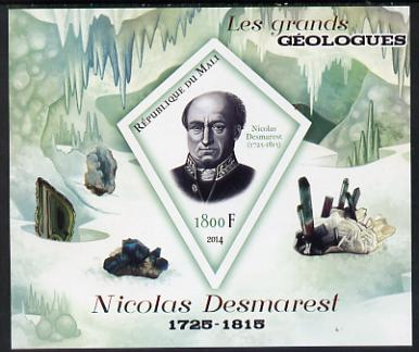 Mali 2014 Famous Gelogists & Minerals - Nicolas Desmarest imperf deluxe sheet containing one diamond shaped value unmounted mint
