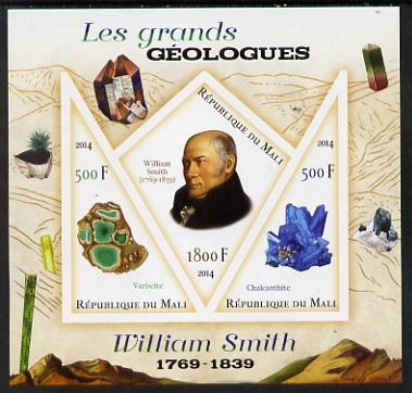 Mali 2014 Famous Gelogists & Minerals - William Smith imperf sheetlet containing one diamond shaped & two triangular values unmounted mint
