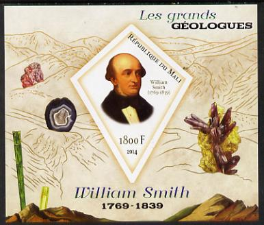 Mali 2014 Famous Gelogists & Minerals - William Smith imperf deluxe sheet containing one diamond shaped value unmounted mint