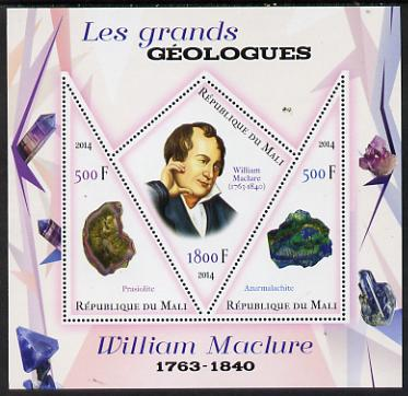 Mali 2014 Famous Gelogists & Minerals - William Maclure perf sheetlet containing one diamond shaped & two triangular values unmounted mint
