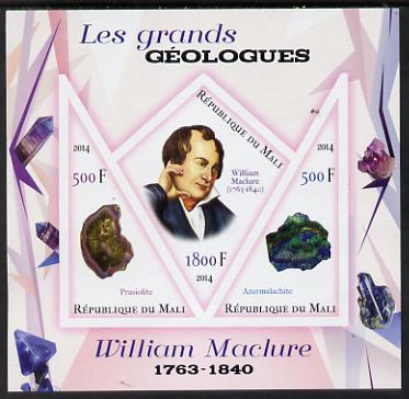 Mali 2014 Famous Gelogists & Minerals - William Maclure imperf sheetlet containing one diamond shaped & two triangular values unmounted mint