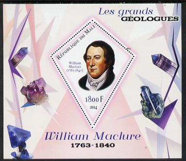 Mali 2014 Famous Gelogists & Minerals - William Maclure perf deluxe sheet containing one diamond shaped value unmounted mint