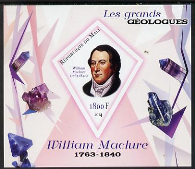 Mali 2014 Famous Gelogists & Minerals - William Maclure imperf deluxe sheet containing one diamond shaped value unmounted mint