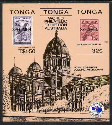 Tonga 1984 Ausipex Stamp Exhibition self-adhesive m/sheet opt'd SPECIMEN (Tongan Parrot stamp & Australian Kookaburra) unmounted mint, as SG MS 892