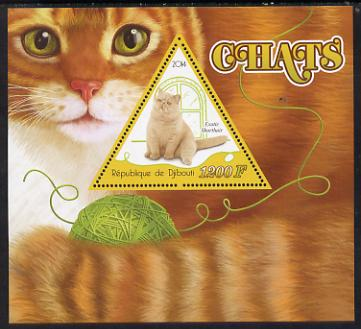 Djibouti 2014 Domestic Cats perf deluxe sheet containing one triangular shaped value unmounted mint