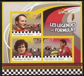 Djibouti 2014 Legends of Formula 1 imperf sheetlet containing three values unmounted mint