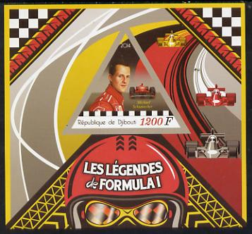 Djibouti 2014 Legends of Formula 1 imperf deluxe sheet containing one triangular shaped value unmounted mint