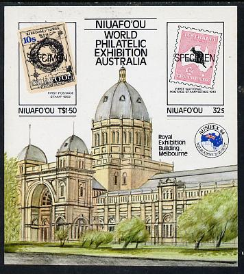 Tonga - Niuafo'ou 1984 Ausipex Stamp Exhibition self-adhesive m/sheet opt'd SPECIMEN (Tongan Map stamp & Australian Roo) unmounted mint, as SG MS 50