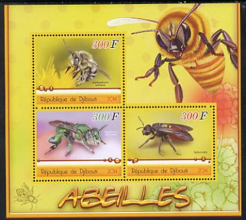 Djibouti 2014 Bees perf sheetlet containing three values unmounted mint