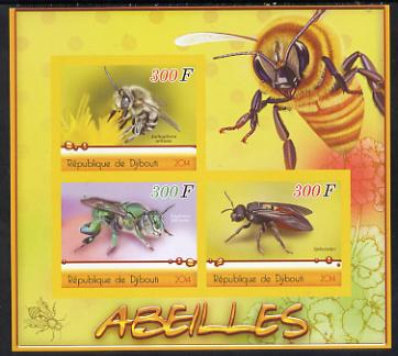 Djibouti 2014 Bees imperf sheetlet containing three values unmounted mint