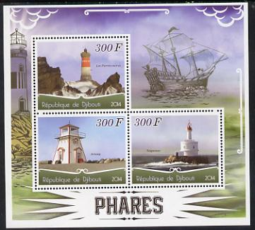 Djibouti 2014 Lighthouses perf sheetlet containing three values unmounted mint