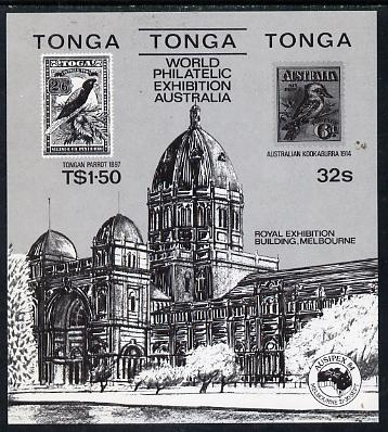 Tonga 1984 Ausipex Stamp Exhibition m/sheet self-adhesive black print (Tongan Parrot stamp & Australian Kookaburra), as SG MS 892 unmounted mint, stamps on birds, stamps on parrots, stamps on stamp on stamp, stamps on stamp exhibitions, stamps on self adhesive, stamps on stamponstamp