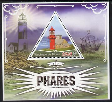 Djibouti 2014 Lighthouses perf deluxe sheet containing one triangular shaped value unmounted mint