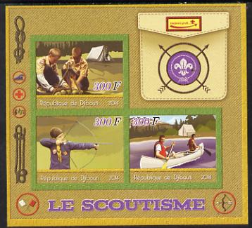 Djibouti 2014 Scouts imperf sheetlet containing three values unmounted mint