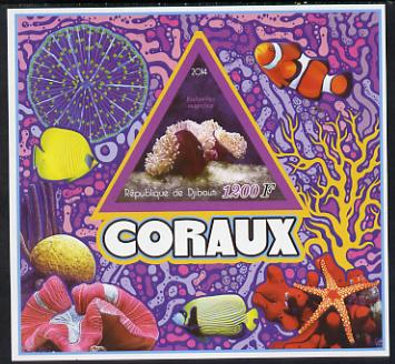 Djibouti 2014 Coral imperf deluxe sheet containing one triangular shaped value unmounted mint