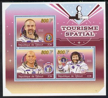 Djibouti 2014 Astronauts #1 perf sheetlet containing three values unmounted mint