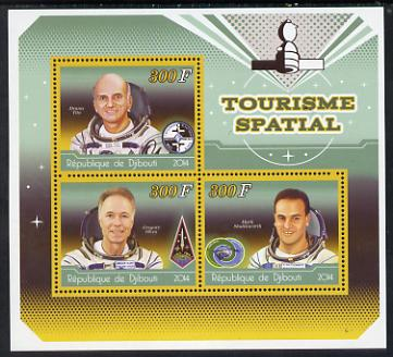 Djibouti 2014 Astronauts #2 perf sheetlet containing three values unmounted mint