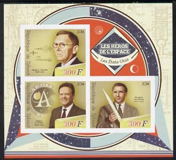 Djibouti 2014 Heroes of Space (American) imperf sheetlet containing three values unmounted mint