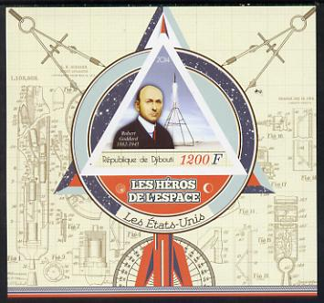 Djibouti 2014 Heroes of Space (American) imperf deluxe sheet containing one triangular shaped value unmounted mint