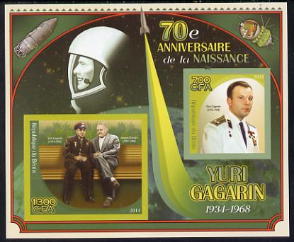 Benin 2014 Yuri Gagarin imperf sheetlet containing two values unmounted mint