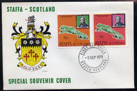 Staffa 1979 Mendelssohn's Visit cover #1 bearing 2 x 14p values showing Map, with first day cancel